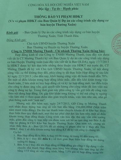 Văn bản báo cáo việc vi phạm Hợp đồng của Ban QLDA huyện Thường Xuân