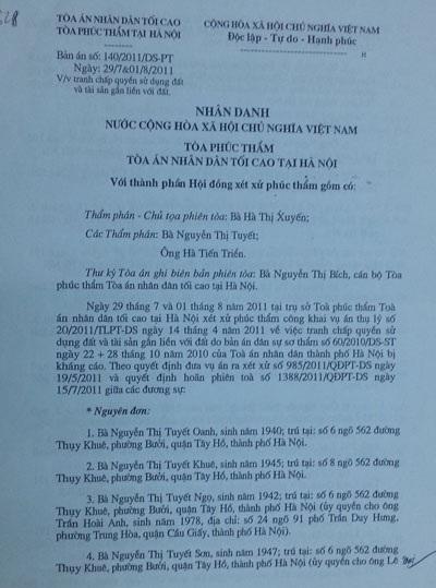 Bản án phúc thẩm của TAND tối cao có hiệu lực từ tháng 8/2011