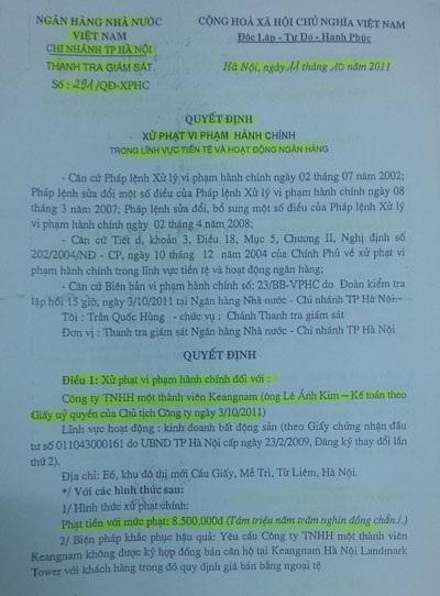 Quyết định xử phạt Keangnam của Ngân hàng Nhà nước Chi nhánh Hà Nội