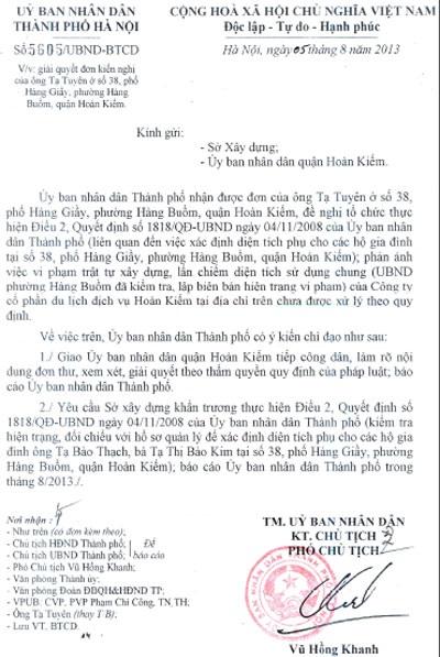 Văn bản chỉ đạogiải quyết của Phó chủ tịch Thành phố Vũ Hồng Khanh