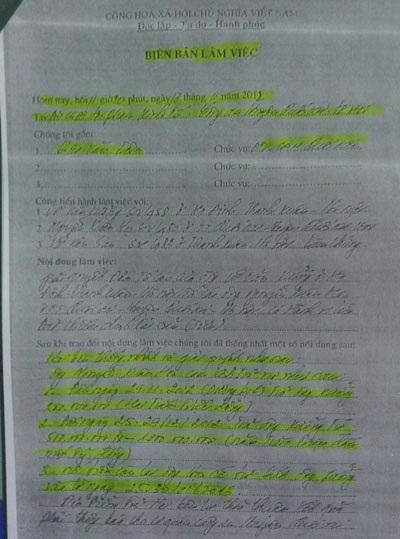 Biên bản làm việc giữa các bên tại Cơ quan CSĐT - Công an huyện Quốc Oai