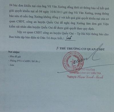 Công văn của Công an huyện Quốc Oai gửi tòa soạn báo Dân trí