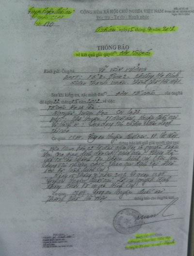 Ông Xưởng cho rằng Quyết định giải quyết khiếu nại của Công an huyện Quốc Oai chưa thỏa đáng