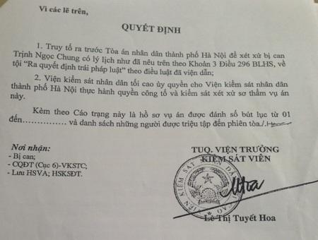 Cáo trạng của Viện KSND tối cao đã chỉ rõ hành vi phạm tội của Trịnh Ngọc Chung