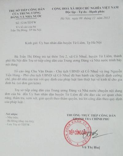 Văn bản Thanh tra Chính phủ chỉ đạo UBND huyện Từ Liêm giải quyết đơn tố cáo của bà Trần Thị Đông
