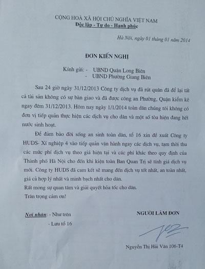 Đơn kiến nghị đại diện cư dân gửi UBND quận Long Biên và phường Giang Biên