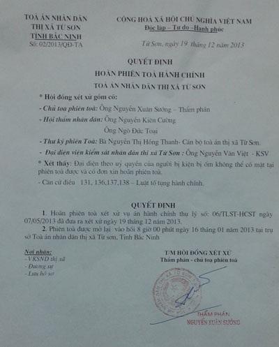 Luật sư Nguyễn Thanh Hải nhận định Tòa án thị xã Từ Sơn vi phạm tố tụng