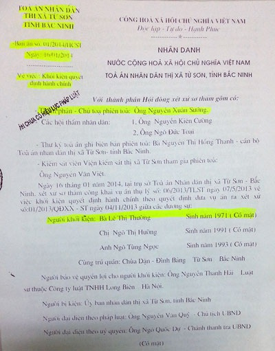 Bà Lê Thị Thường kháng cáo toàn bộ nội dung bản án sơ thẩm