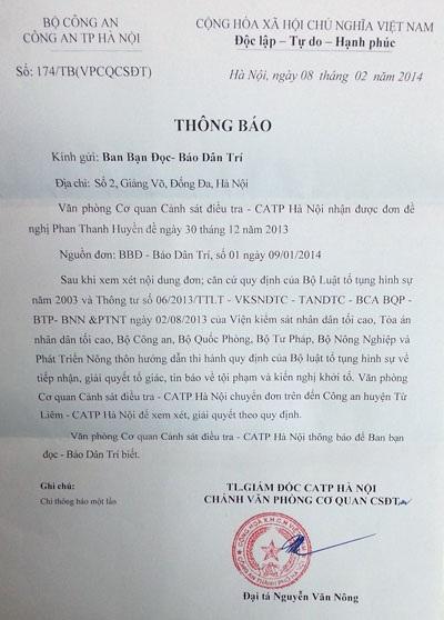 Văn bản Cơ quan CSĐT - Công an TP Hà Nội gửi báo Dân trí