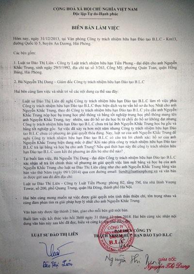 Biên bản làm việc giữa người ủy quyền của anh Trung và bà Dung