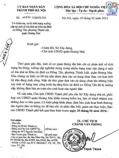 Văn bản truyền đạt ý kiến chỉ đạo của Chủ tịch TP Hà Nội