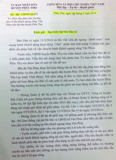 Công văn của huyện Phúc Thọ đã chỉ rõ những vi phạm của bến đò