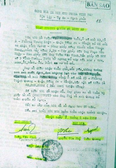 Việc chuyển nhượng giữa ông Trần Văn Ninh cho ông Nhị - Quang được UBND phường Trung Liệt xác nhận