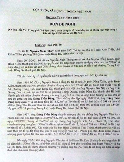 Đơn đề nghị ông Nguyễn Xuân Thủy gửi đến báo Dân trí