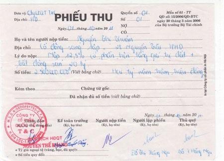 Phiếu thu 2,5 tỷ đồng của bà Thuận doông Khang ký và đóng dấu