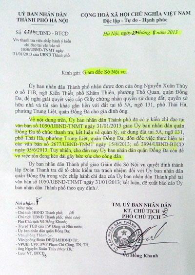 TP Hà Nội chỉ đạo Sở Nội vụ Thanh tra để tổ chức kiểm tra trách nhiệm đối với quận Đống Đa