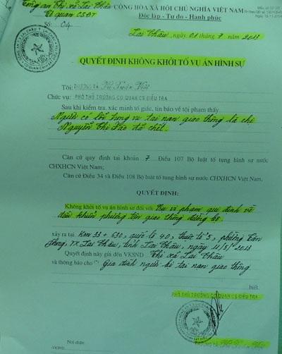 Quyết định không khởi tố vụ án hình sự của Công an thị xã Lai Châu