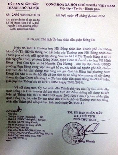 Văn bản chỉ đạo xử lý dứt điểm vụ việc của UBND TP Hà Nội
