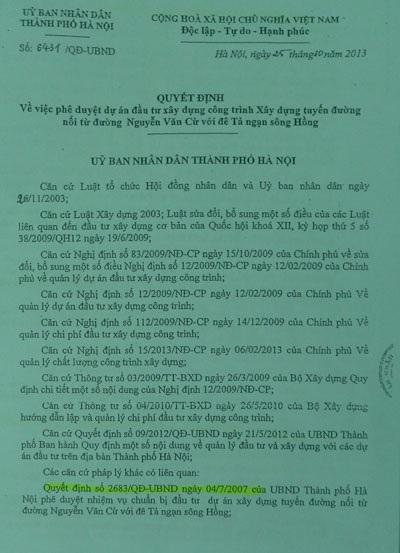 Quyết định phê duyệt dự án của UBND TP Hà Nội