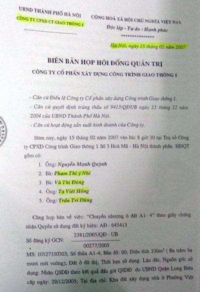 Các thành viên HĐQT cho rằng ông Quỳnh đã lập biên bản khống vào ngày