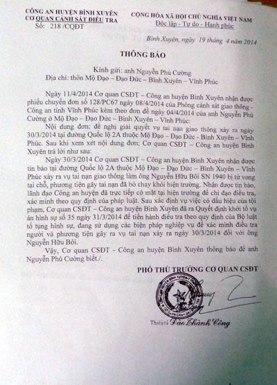 Thông báo của Công an huyện Bình Xuyên về việc khởi tố vụ án