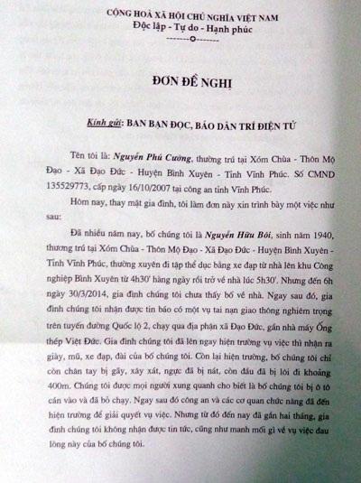 Đơn đề nghị gia đình nạn nhân Nguyễn Hữu Bôi gửi báo Dân trí