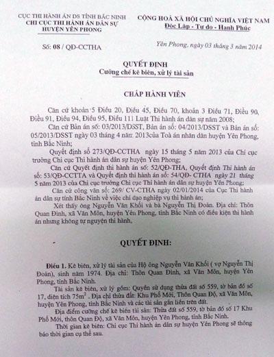 Quyết định số 08 có dấu hiệu vi phạm pháp luật của Chi cục THADS huyện Yên Phong