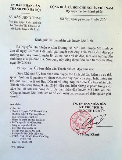 Văn bản chỉ đạo của Phó chủ tịch Thành phố Vũ Hồng Khanh