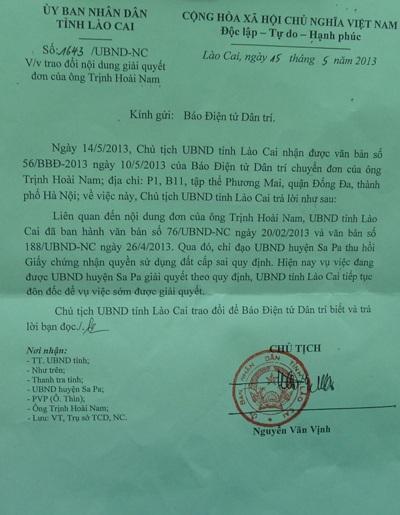 Văn bản Chủ tịch UBND tỉnh Lào Cai gửi báo Dân trí tháng 5/2013