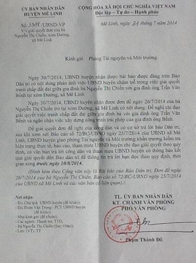 Văn bản chỉ đạo kiểm tra, xử lý của UBND huyện Mê Linh