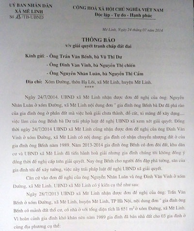 Văn bản yêu cầu phá dỡ công trình vi phạm của UBND xã Mê Linh