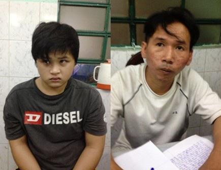 Trương Minh Nhật (trái) và Nguyễn Minh Dũng tại cơ quang công an