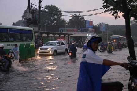 Cơn mưa lớn vào chiều 24/11 khiến nhiều tuyến đường tại TPHCM ngập nặng