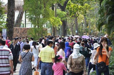 Hàng ngàn người đã đổ về Thảo Cầm Viên để vui chơi sáng mùng 2 Tết