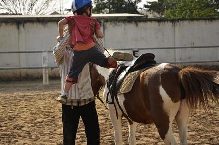 Một học viên nhí không thể tự trèo lên lưng ngựa được giáo viên bế lên