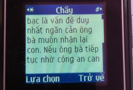 Một trong những tin nhắn mà An gửi đến gia đình nạn nhân để đe dọa việc báo công an