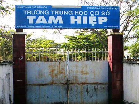 Trường THCS Tam Hiệp nơi xảy ra vụ việc