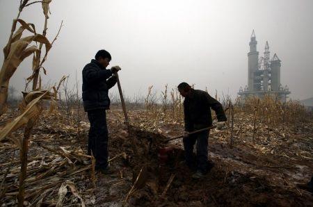 Nông dân đào giếng canh tác trên đất công viên