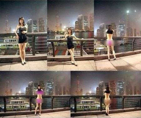 Cô gái xuất hiện trong 3 bộ ảnh khác nhau với tư thể khiêu gợi