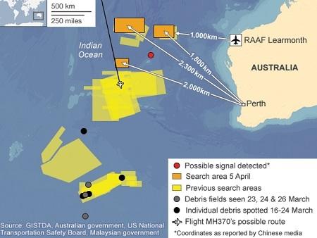 Phạm vi tìm kiếm máy bay mất tích và chấm đỏ là nơi nghi phát hiện tín hiệu hộp đen