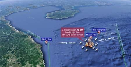 Vị trí giàn khoan Hải Dương-981 nằm trong thềm lục địa và vùng đặc quyền kinh tế của Việt Nam