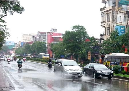 Hà Nội vẫn đang có mưa song lượng mưa không đáng kể, không gây ngập úng (Ảnh: C.N.Q)