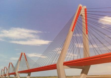 Hình ảnh cầu Nhật Tân khi hoàn thành - cây cầu dây văng đầu tiên tại Hà Nội.