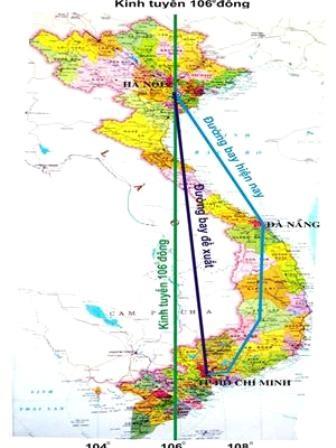 Đường bay được đề xuất kéo thẳng kinh tuyến 106
