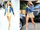 Người mẫu Mỹ khoe chân dài với váy ngắn