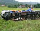 Xe tải lao xuống ruộng, tài xế may mắn thoát chết