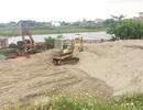 Dẹp bỏ các bãi cát không phép ven sông Đáy sau phản ánh của Báo Dân trí