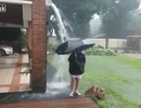 Cậu bé thoát nạn khi sét đánh trúng ô che dưới mưa
