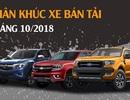 Phân khúc xe bán tải tháng 10/2018: Ford Ranger trở lại vị trí dẫn đầu