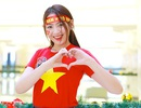 Dàn thí sinh Hoa khôi sinh viên Việt Nam 2018 rạng rỡ cổ vũ ĐT Việt Nam